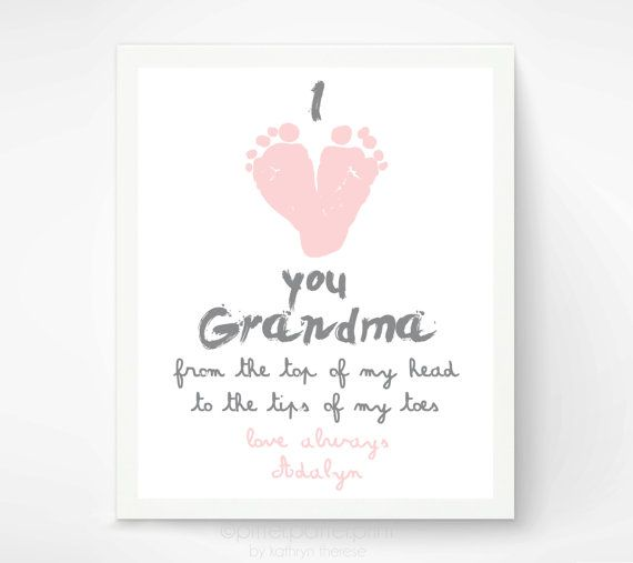 Personalized mothers day gift for grandma i love you grandma personalized mothers day gift for grandma i love you grandma baby footprint art gift negle Image collections
