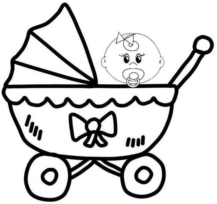 Pretty Awesome Baby Carriage Coloring Sheet For Little Kids Rhpinterest: Coloring Pages Baby Carriage At Baymontmadison.com