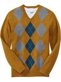 Men's Argyle V-Neck Sweaters
