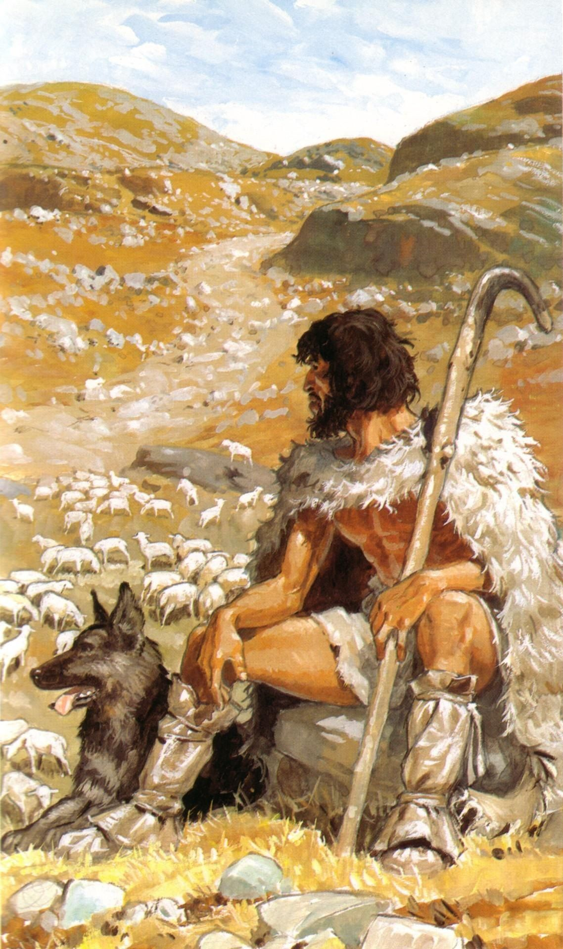 Neolithic Shepherd With His Sheep By Pierre Joubert With