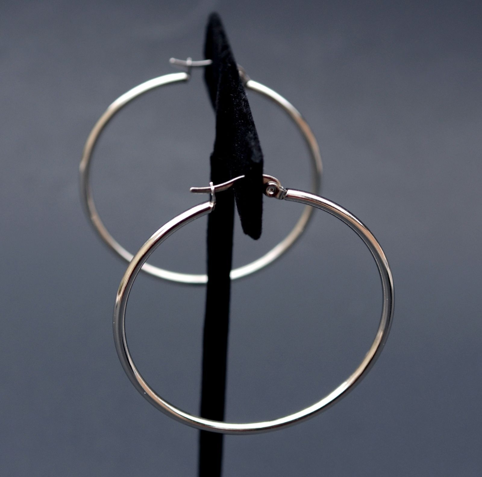 Silver Hoop Earrings Stainless Steel Round 1 3 4 Inch Diameter Hypoallergenic Ebay