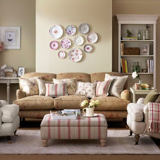 Faded floral living room living room country country for Fine country living
