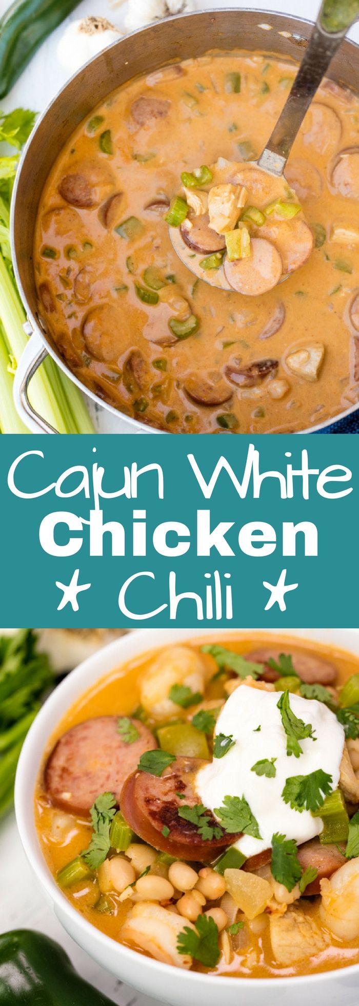 Cajun White Chicken Chili #cajunandcreolerecipes
