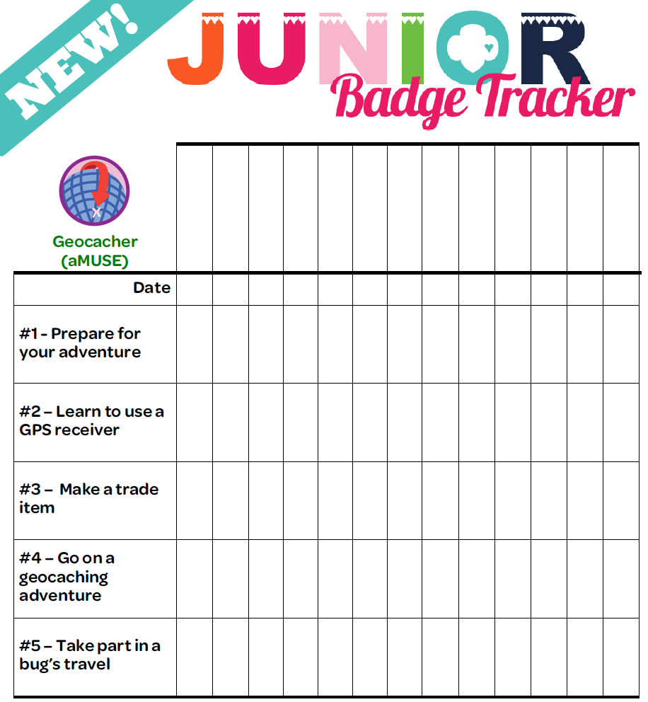 I am girl scouts updated all new junior badge tracker for Girl scout calendar template