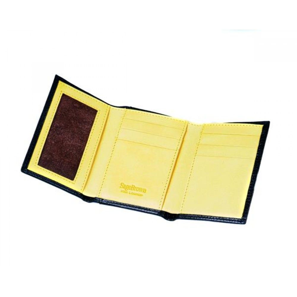 Black With Yellow Tri Fold Wallet
