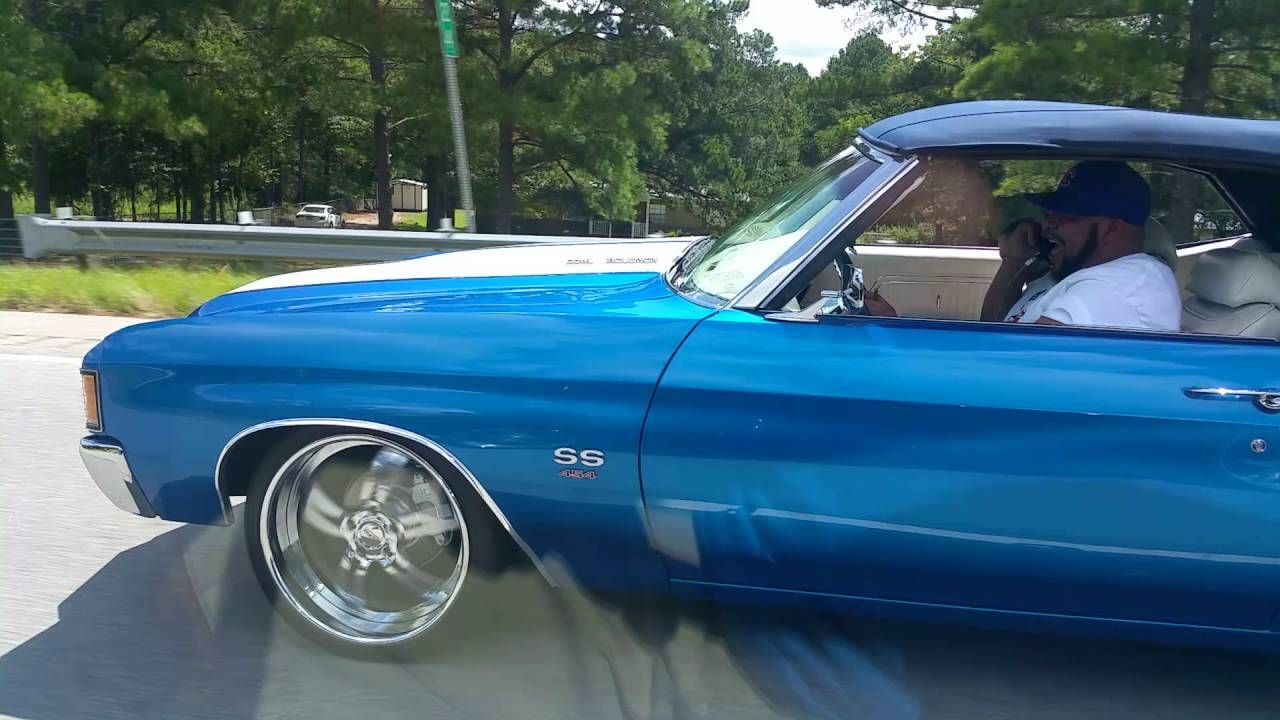 video clip of 72 chevelle convertible split 5 star wheels blue white interior Big and Lil Mitch 72 Chevelle Convertible SS cruising