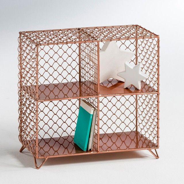 Elori copper-coloured wire mesh shelf unit, copper, La ...