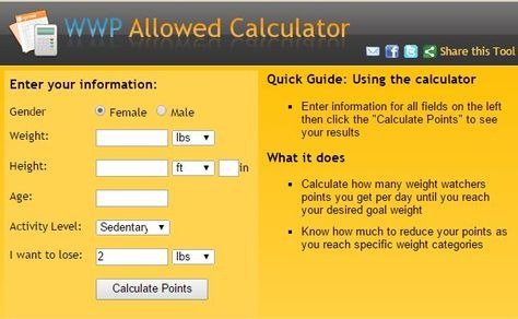 Free Calculator To Find Total Points Per Day Note As You Loose Weight Will Need Recalculate For New Allowed Deb