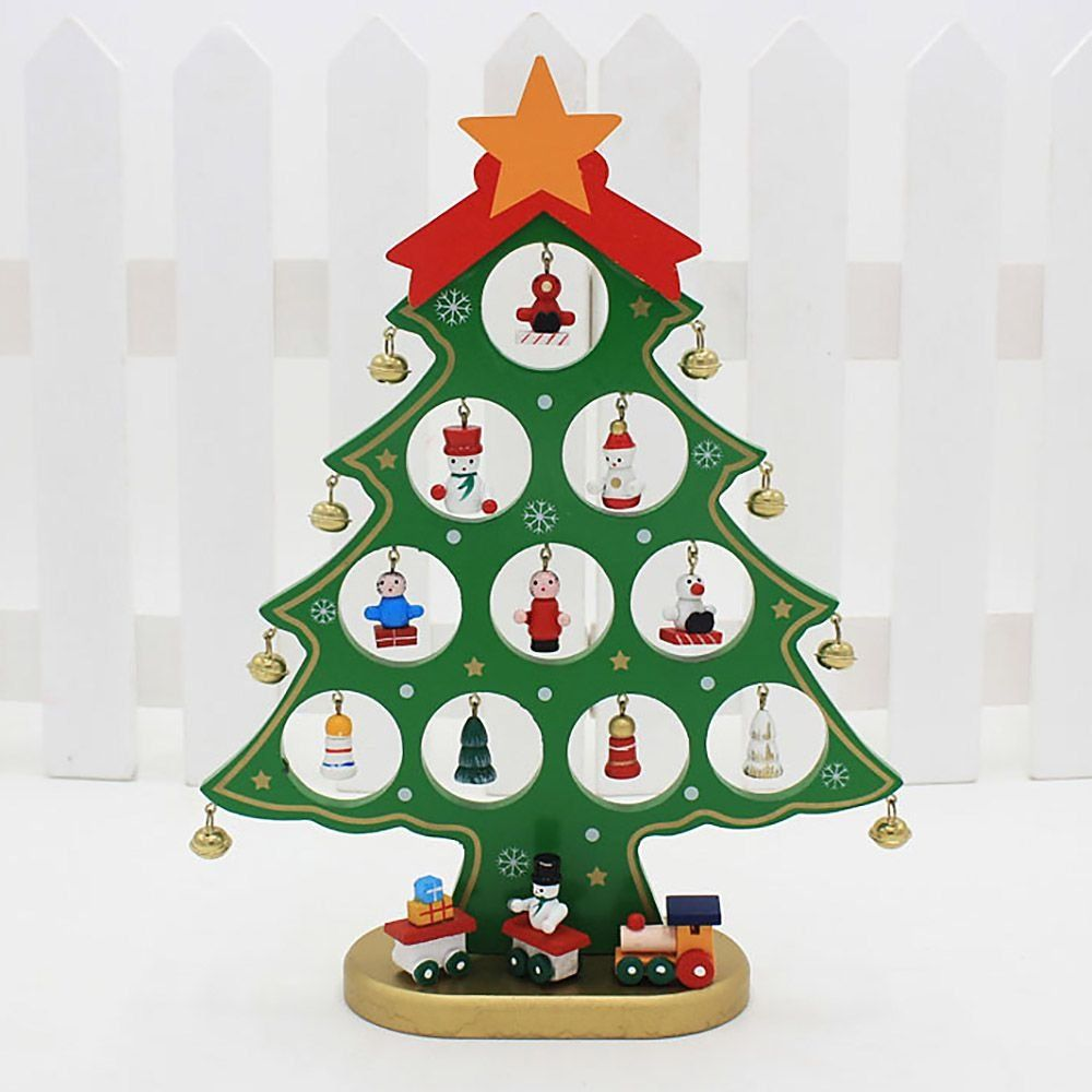 Hua Yang 1 Pc Diy Cute Cartoon Wooden Christmas Tree Home Decoration Handmad Christmas Tree With Gifts Wooden Christmas Trees Wooden Christmas Tree Decorations