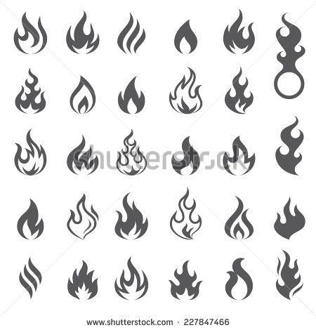 Big Set Of 29 Flame And Fire Vector Icons Vector File Is Fully