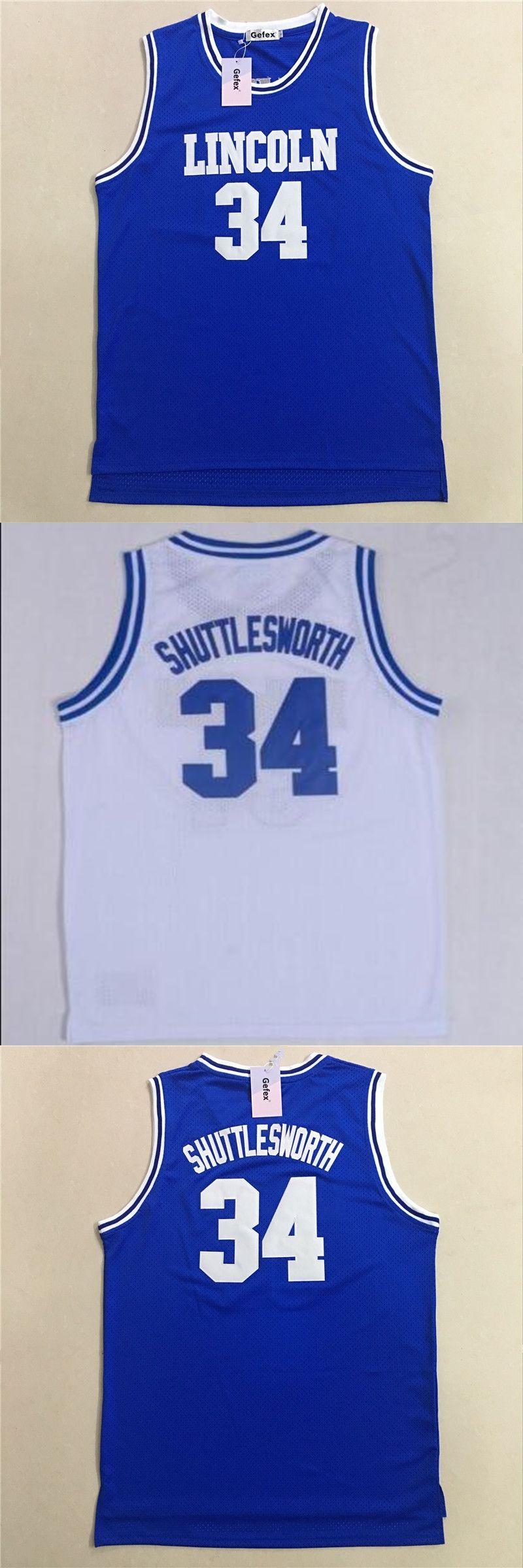 4f29fae94 Gefex Mens Jesus Shuttlesworth Lincoln Basketball Movie Jerseys  34 Ray  allen Jersey Stitched Throwback Basketball blue white je