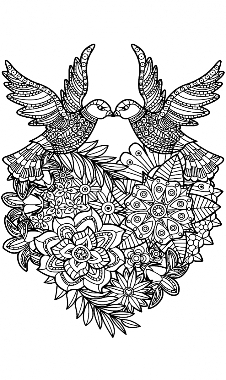 Love birds coloring page | Coloring Pages for Adults | Pinterest | Bird