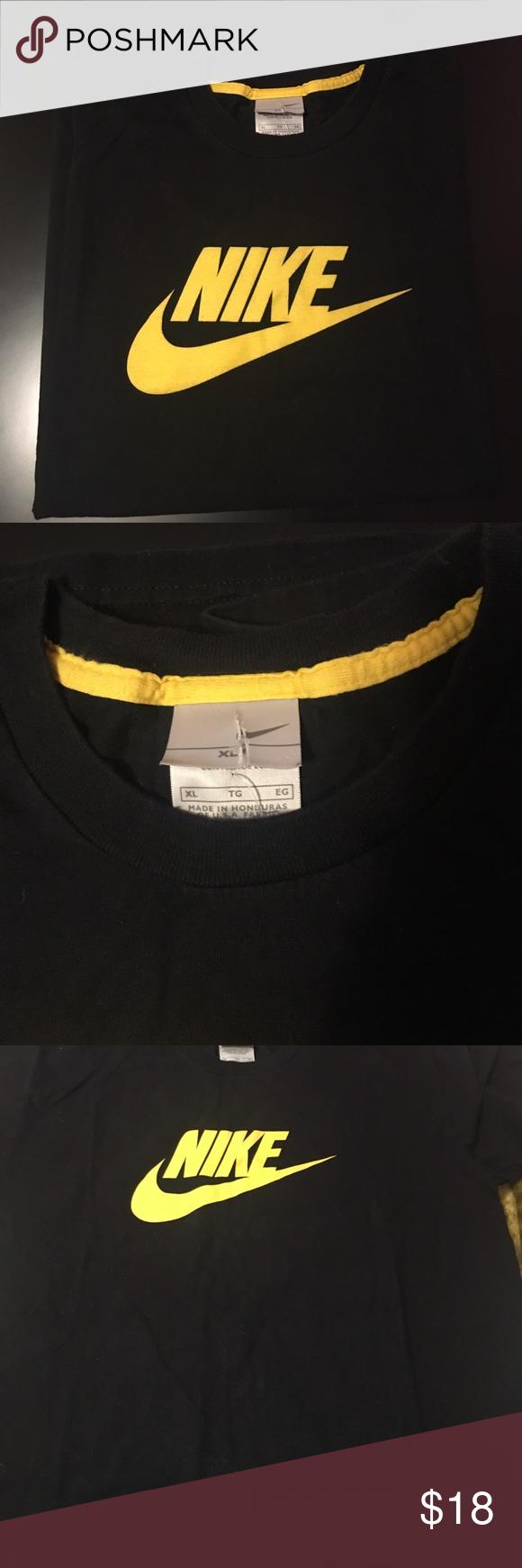 Men's Nike Black T shirt with yellow logo XL