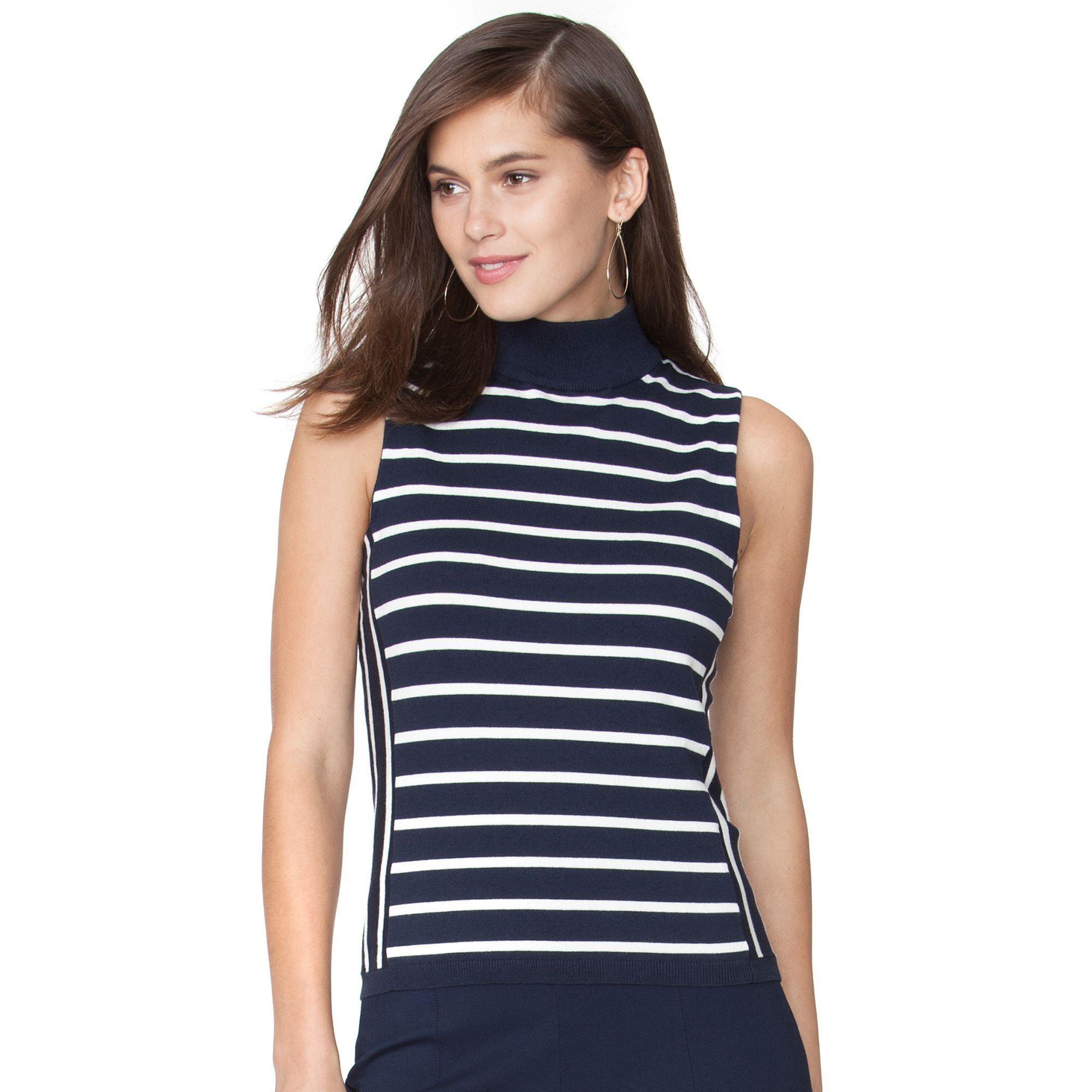 Women's Chaps Striped Sleeveless Sweater, Size: XL, Blue | Products