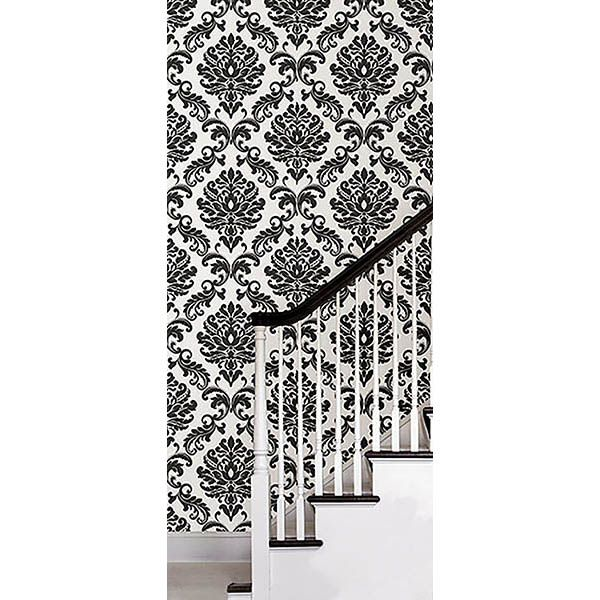 Ariel Black And White Damask Peel And Stick Wallpaper By Nuwallpaper Peel And Stick Wallpaper Nuwallpaper Bathroom Wallpaper Black And White