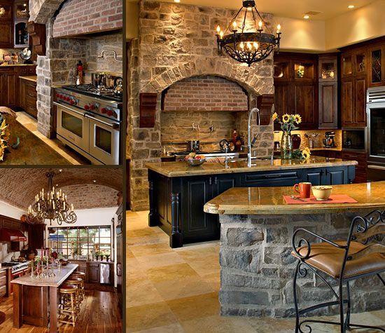 Tuscan Style Kitchen Cabinets: I Like The Use Of Stone And Wood