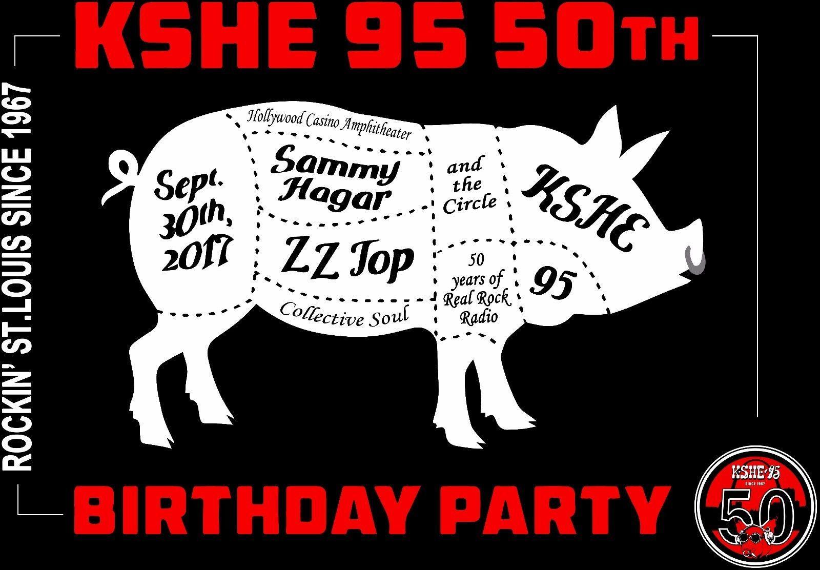 Kshe 95 Radio Rock Logo Tour 50th Anniversary Sammy Hagar Zz Top Tshirt S To 3xl Collective Soul Hollywood Casino Yoda
