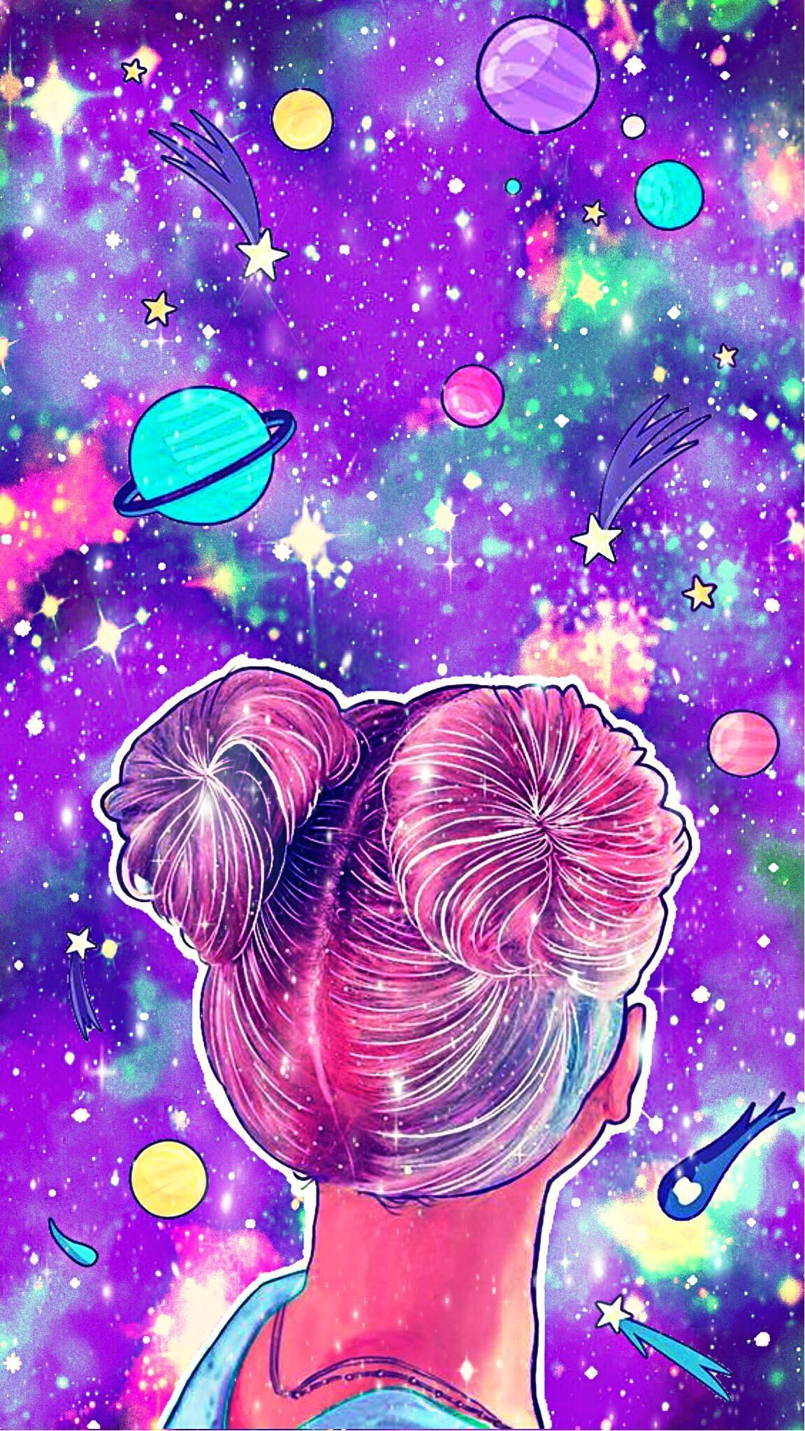Girl Planet Galaxy #androidwallpaper #iphonewallpaper #glitter #sparkle #galaxy #space #planets - Telescope