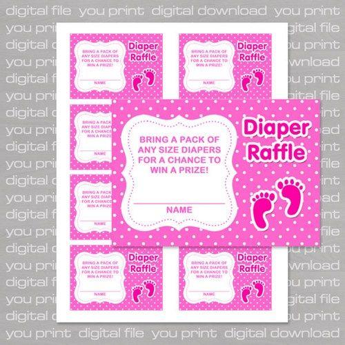 Footprints Baby Shower Diaper Raffle Tickets, Girl   Printable PDF