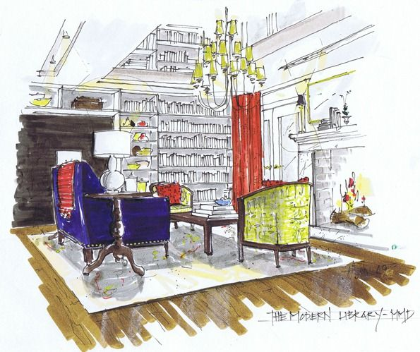Interior Design Programs For Computer: Hand Rendered Sketching.. More Beautiful Than Any Computer