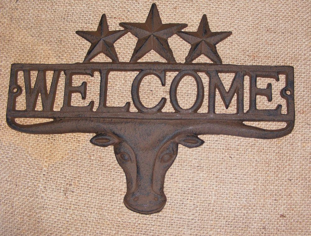 Cast Iron WELCOME STEER STAR Plaque Wall Sign Star Country Rustic Western  #403 #CastIron #Country