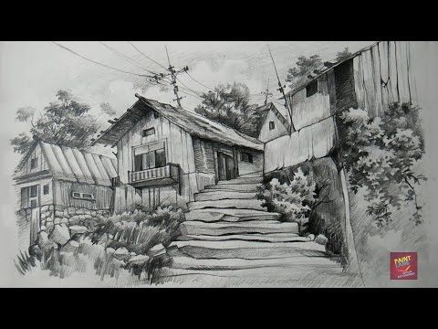 How To Draw And Shade Old Wooden Houses With Pencil By Paintlane Drawing Technique Drawing Scenery Landscape Pencil Drawings Landscape Drawings