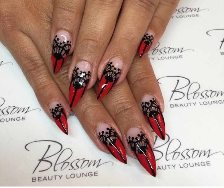stilleto red and black lace sexy nails nails pinterest
