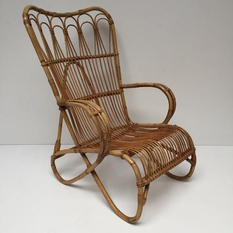 vintage rattan wicker chair fauteuil rotin vintage free delivery