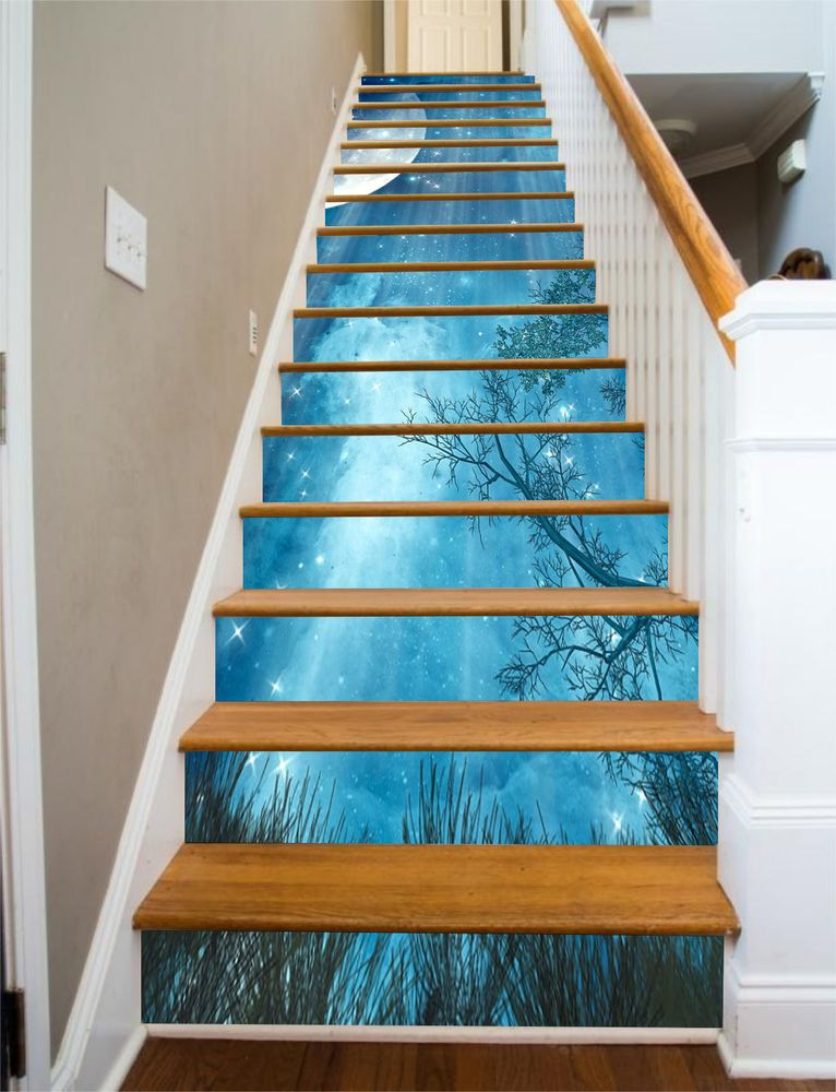Best Details About 3D Blue Stars Sky Stair Risers Decoration 400 x 300