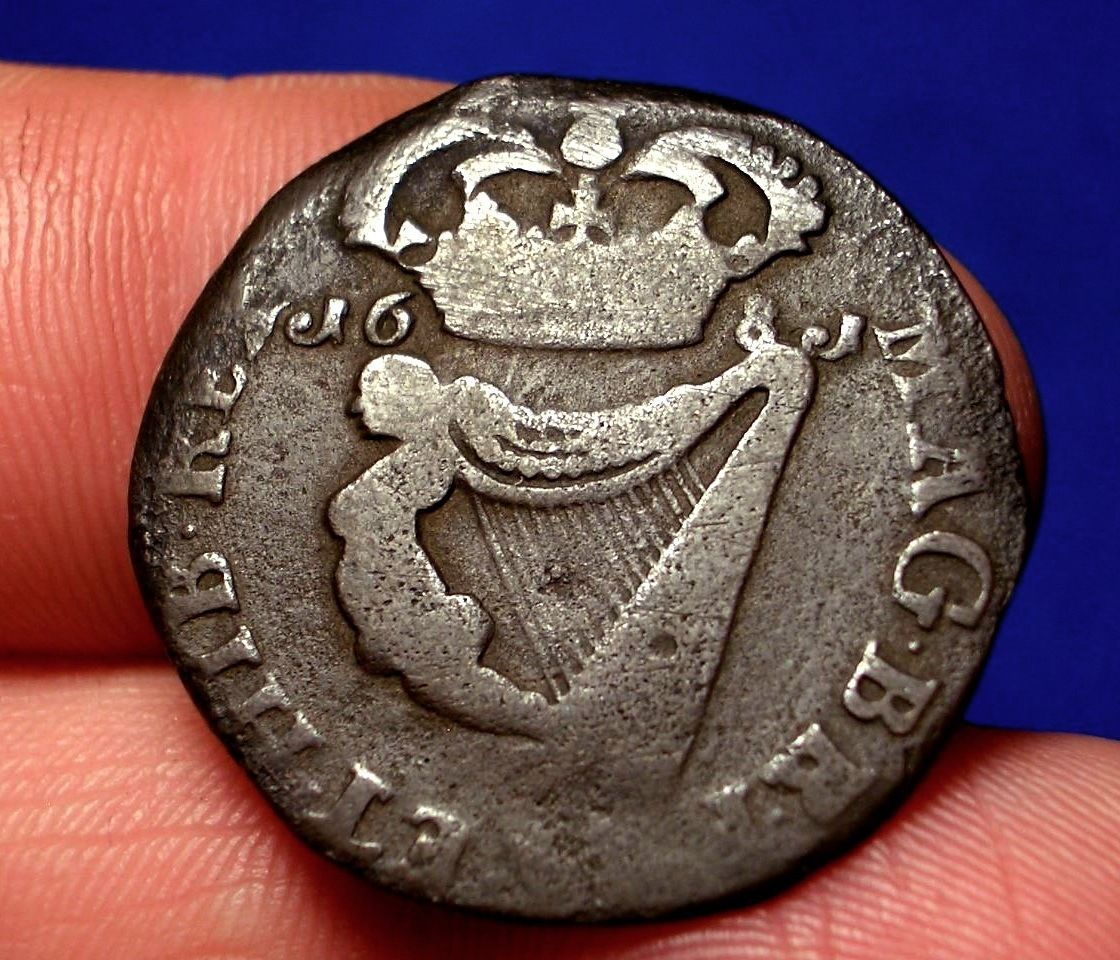 OLD IRISH COINS 1681 KING CAROLUS COLONIAL HALFPENNY