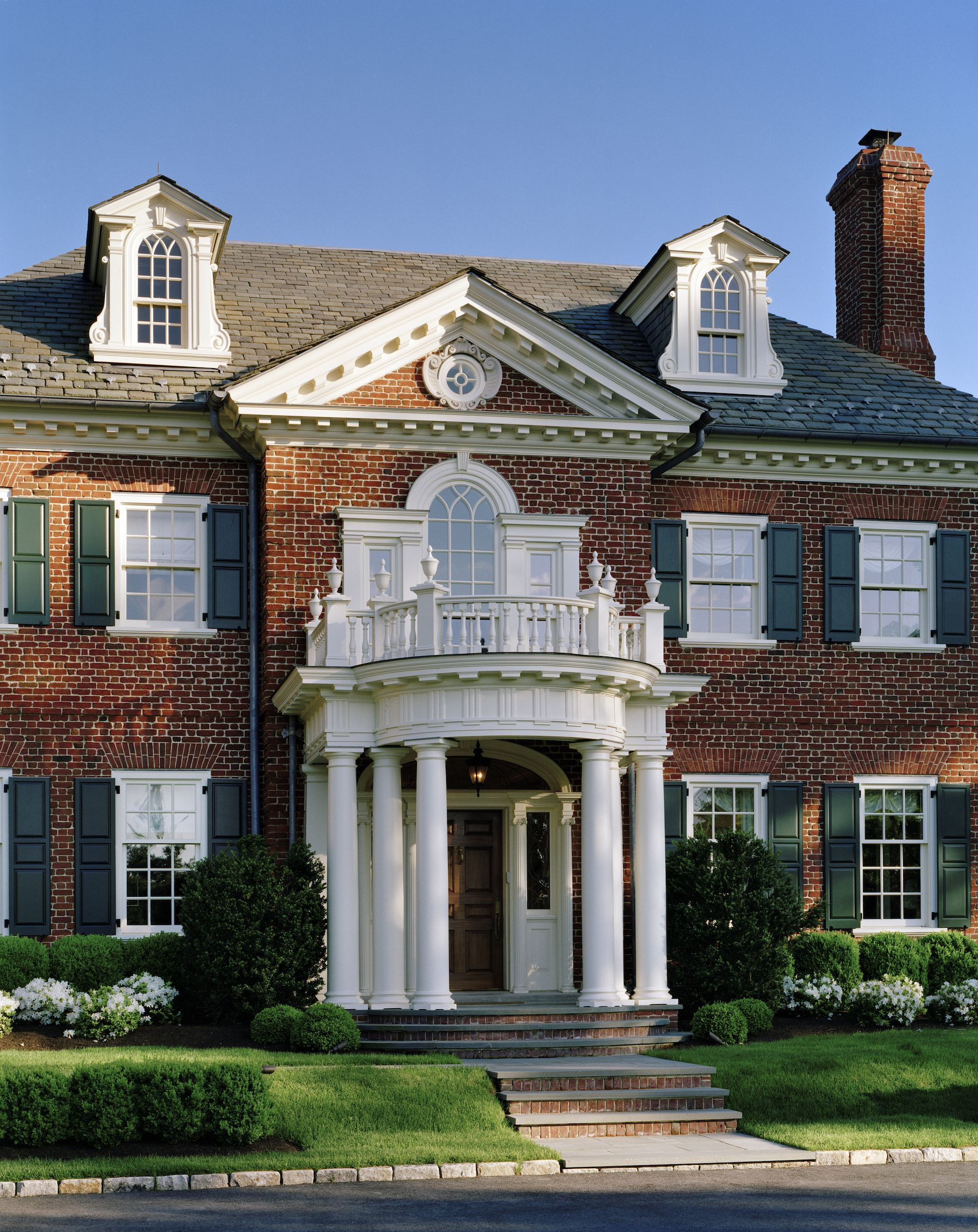 charles hilton architects traditional exterior with colonial portico entryway to luxury georgian style estate - Colonial Design Homes
