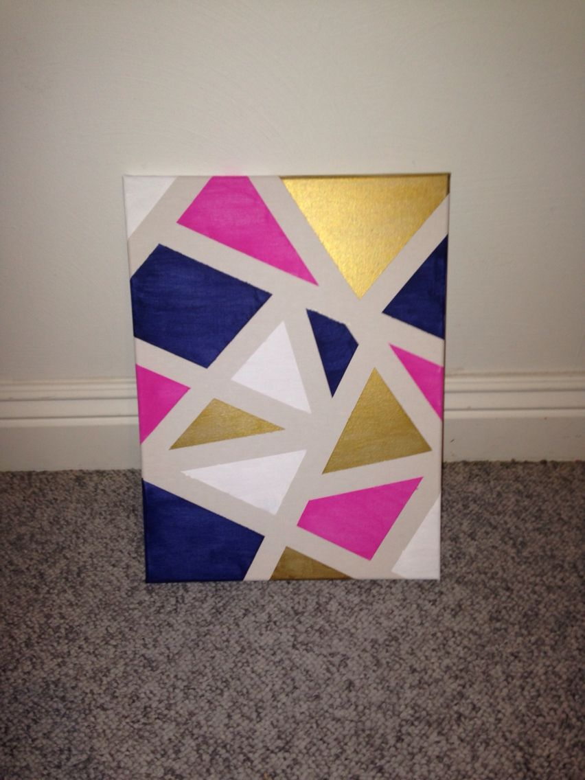 Diy canvas art apply painters tape randomly around a for Canvas art ideas for kids