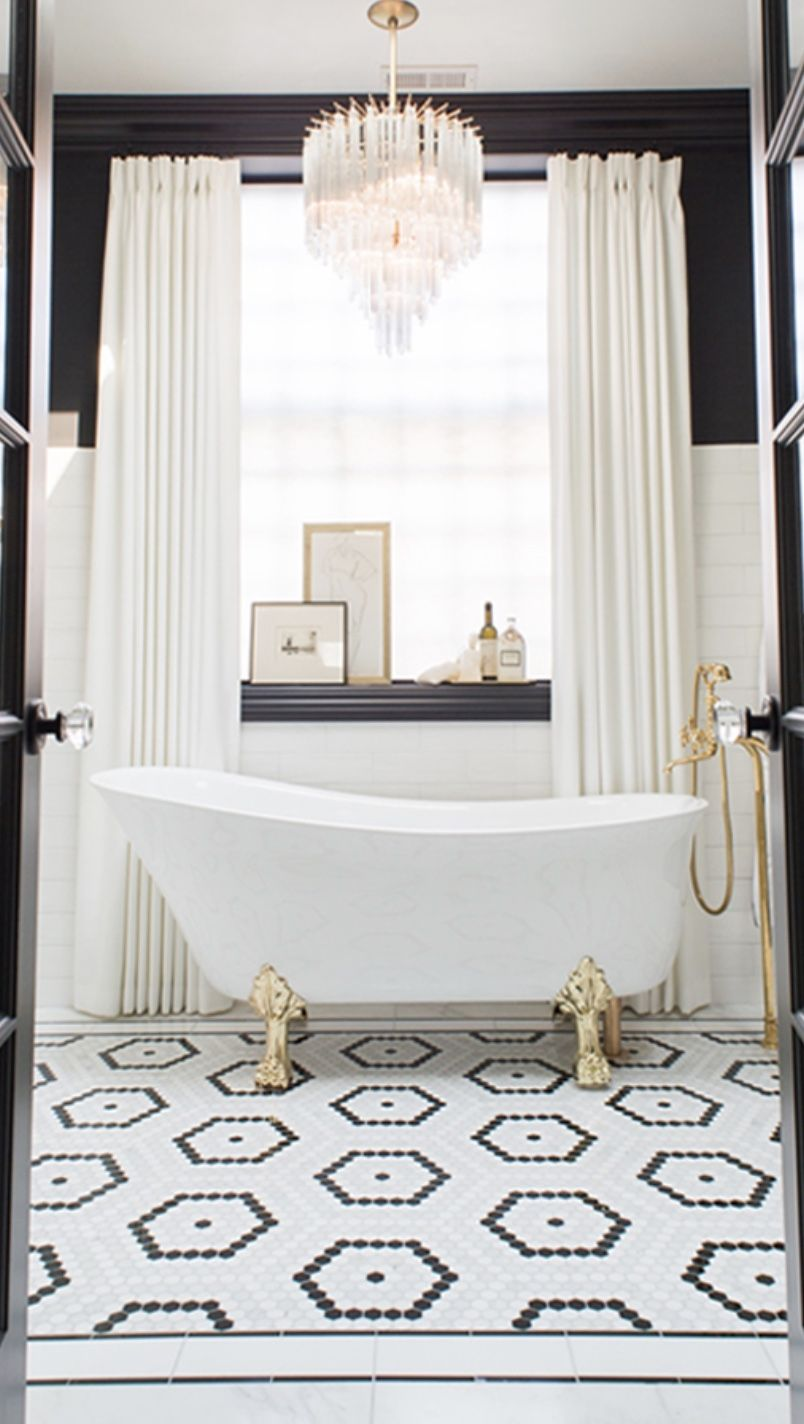 Gorgeous Bath Clawfoot Tub Chandelier Black White Tile