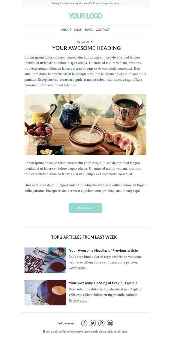 Responsive Html Email Mailchimp Email Newsletter Template Send
