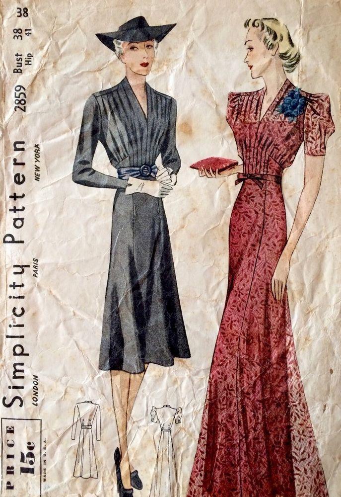 1930\'s Vintage Long Dinner Dress Draped V Pleats Simplicity Sewing ...