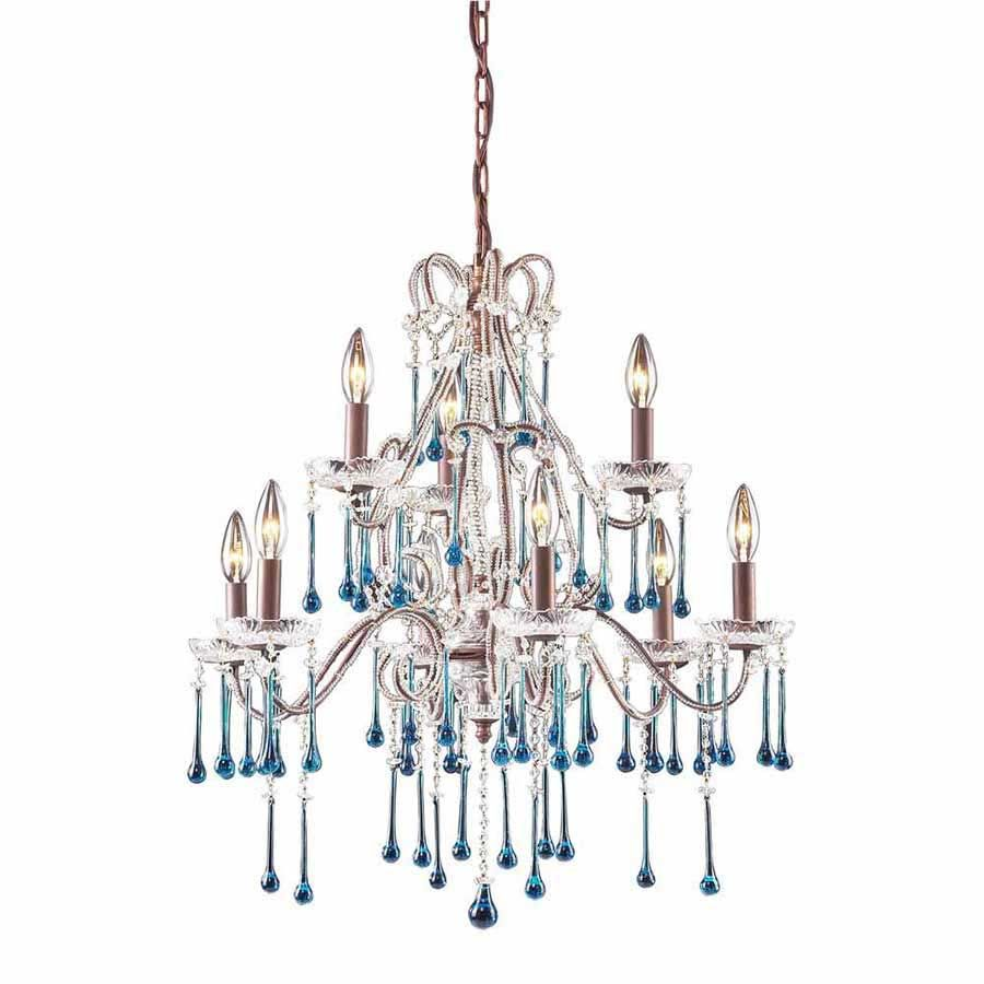 Two Tier Nine Light Chandelier With Clear Crystal Teardrop Accents