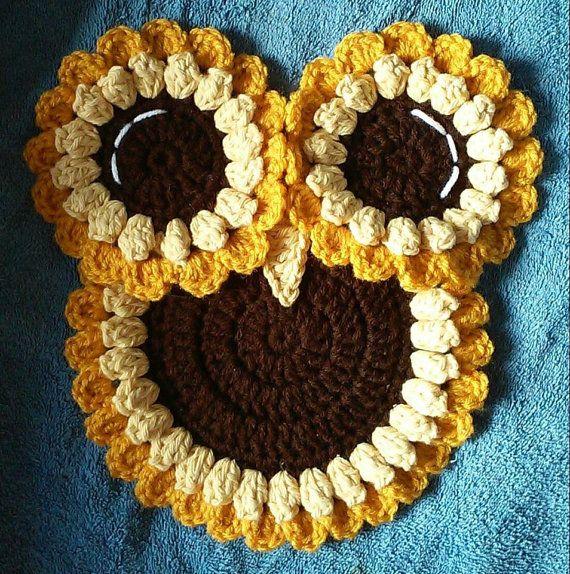 Crochet Big Eyed Owl Potholder Pattern Only | Tejido, Patrones de ...