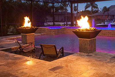 Fire bowl pool features pools with fire pinterest for Pool fire bowls