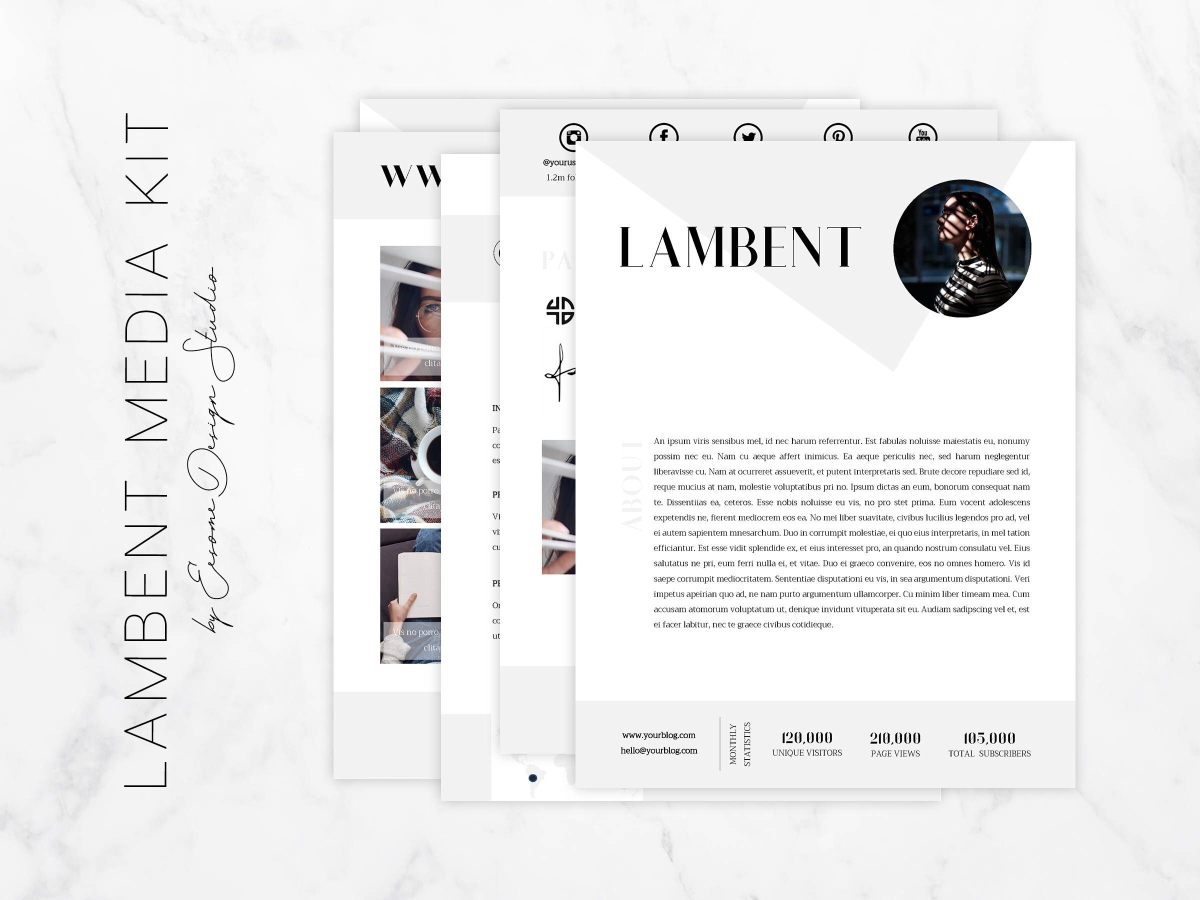 Modern Media Kit Template BloggerMedia Kit Business Page Media
