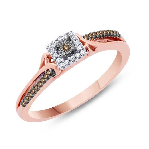 Zales 1/4 CT. T.w. Champagne and White Diamond Three Stone Frame Bypass Promise Ring in 10K Rose Gold
