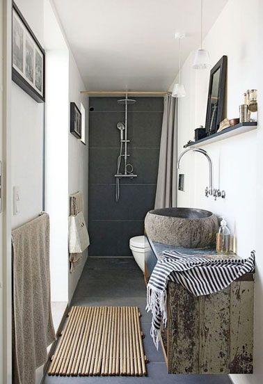 Douche à l\'italienne dans petite salle de bain en longueur | Salle ...