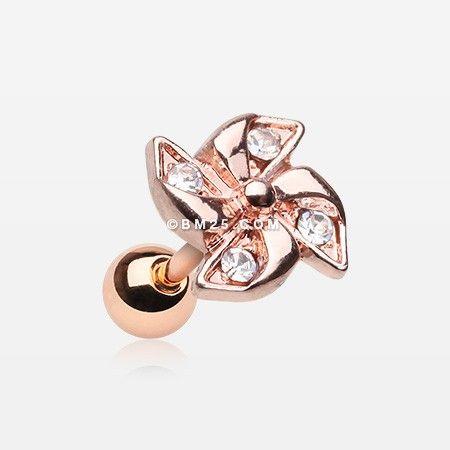 Rose Gold Sparkle Pinwheel Cartilage Tragus Earring