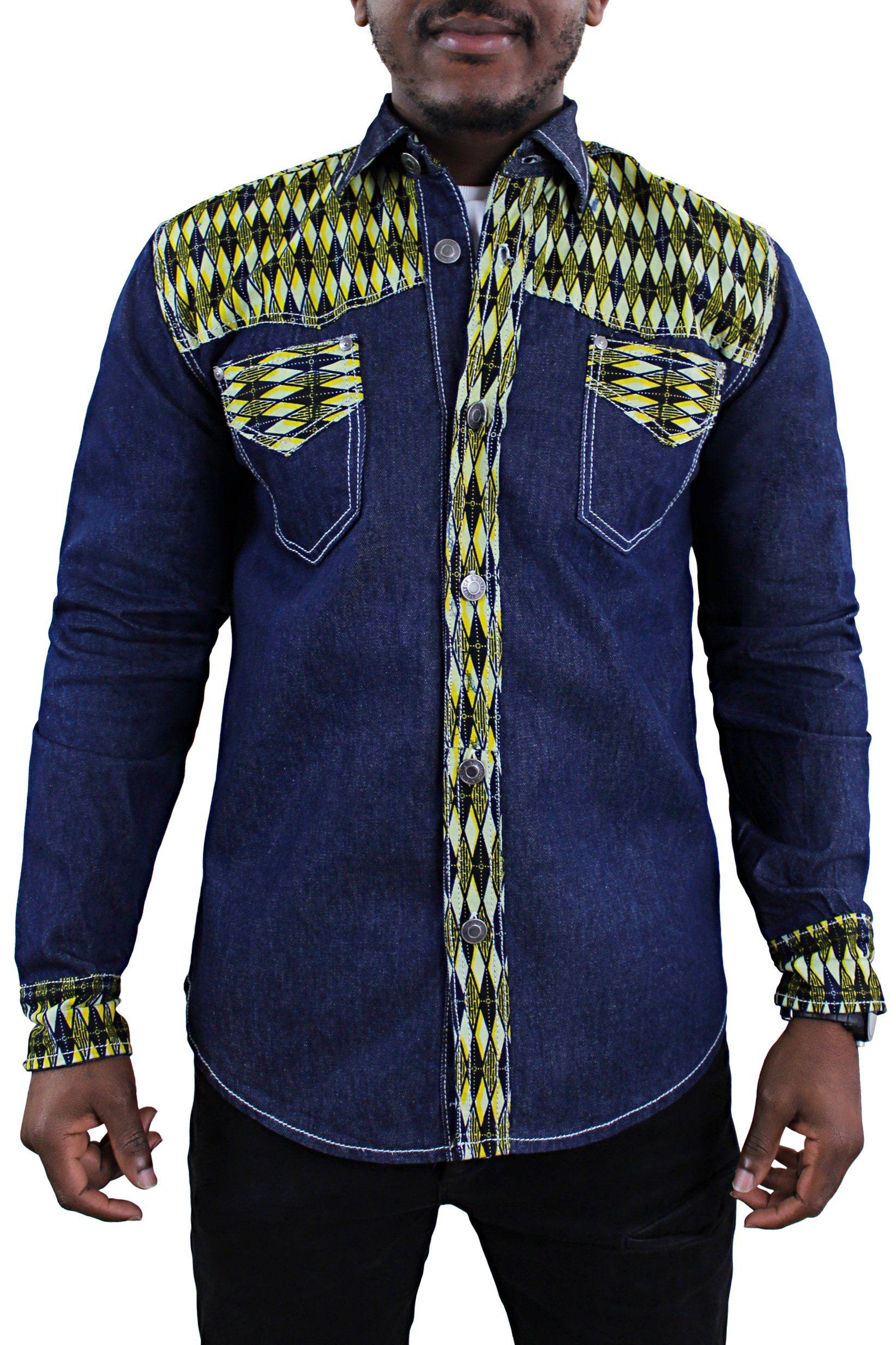 Desta African Print Denim Jeans Long Sleeve Mens Shirt Yellow