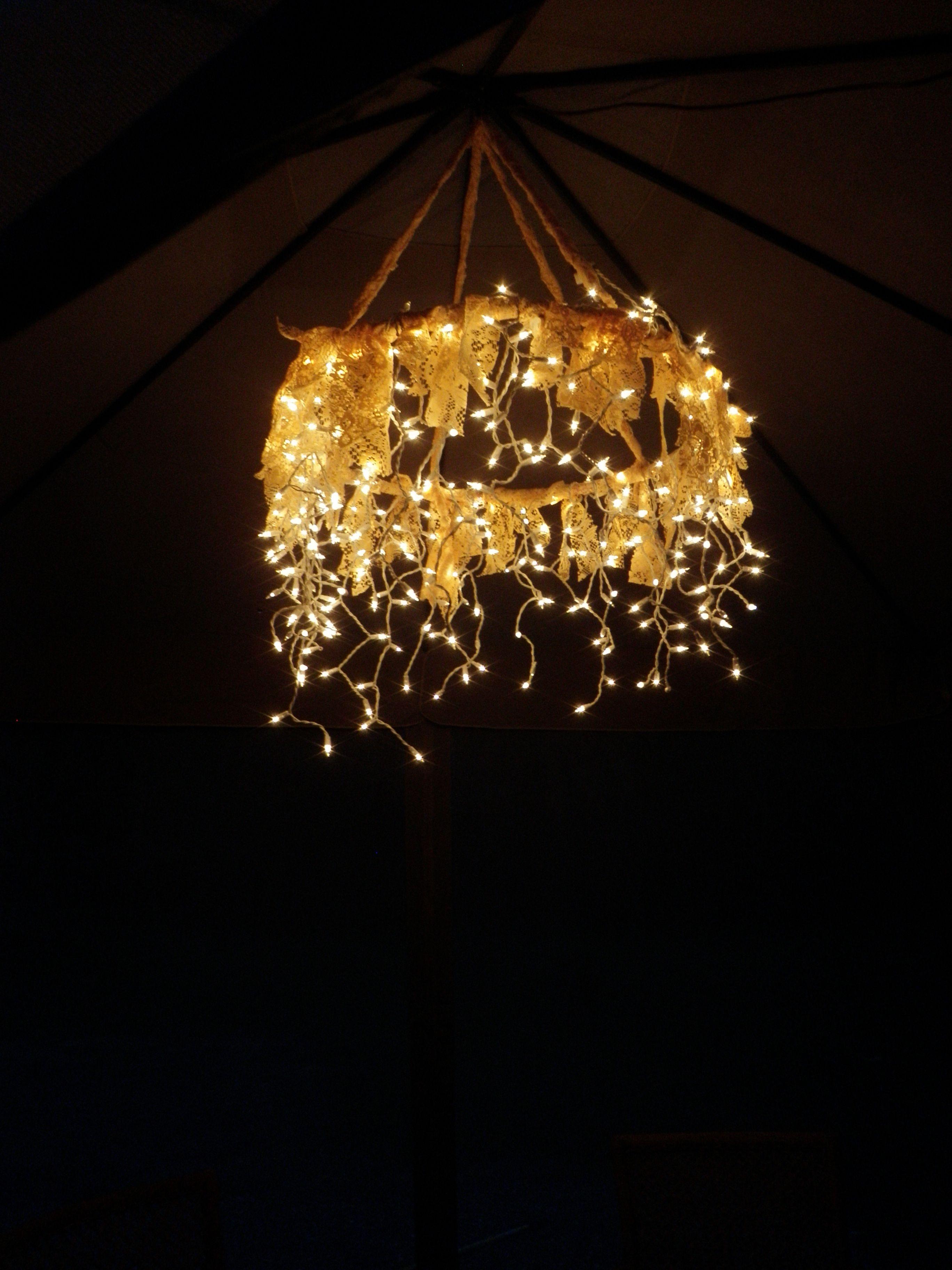 Hula Hoop Chandelier Hula hoop icicle lights and a lace curtain