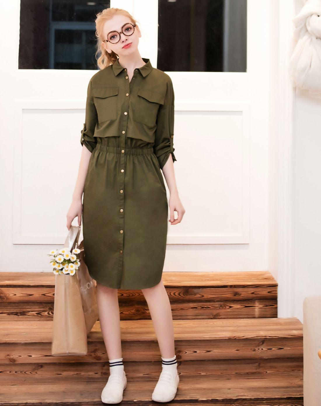 Adorewe vipme shirt dressesdesigner qigirl military green snap