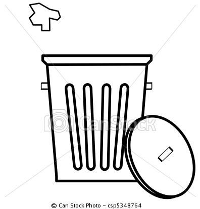 Stock Illustration Garbage Can With Litter Being Tossed In