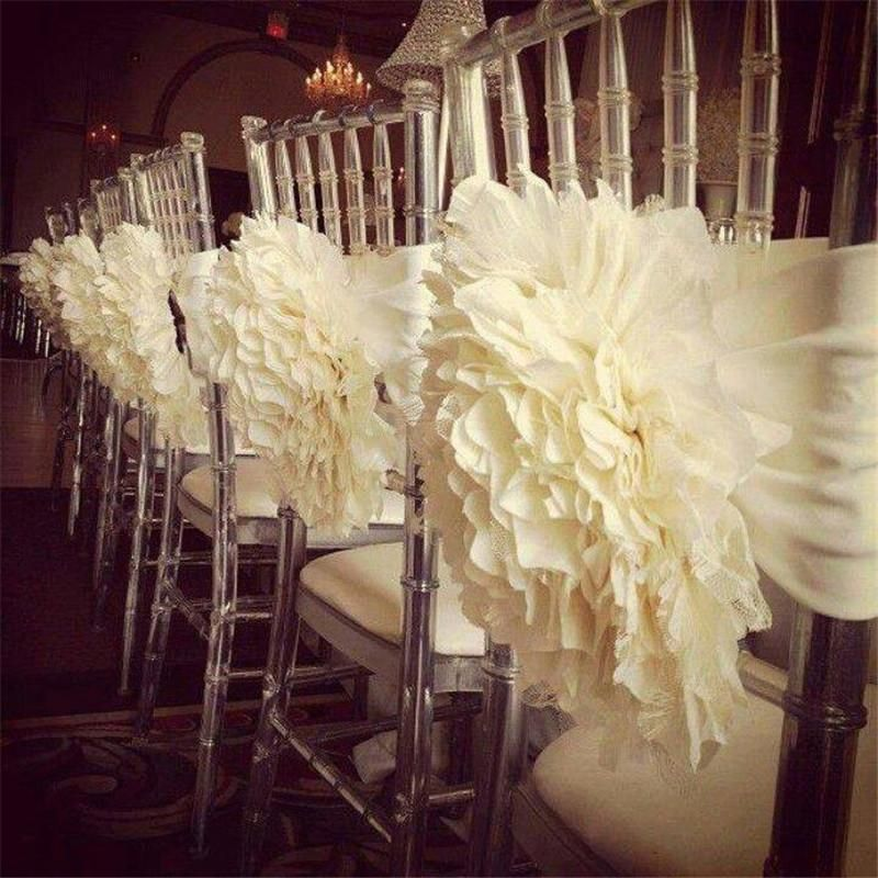 Wholesale Ivory White 3d Flower Chair Covers Sashes 2016 A Hand