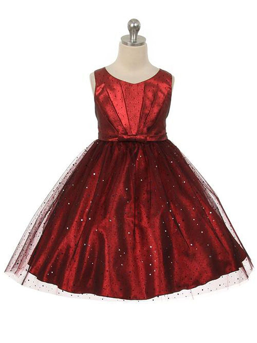 99420f2797d Sparkly Red Dress with Gathered Top   Tulle Skirt