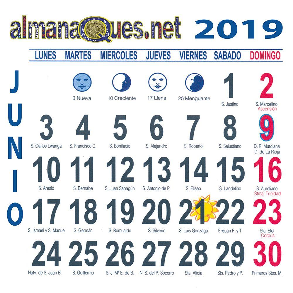 Calendario Santoral.Calendario 2019 Con Santoral Y Lunas Calendario 2019