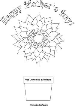 mothers day coloring page, sunflower and flower pot